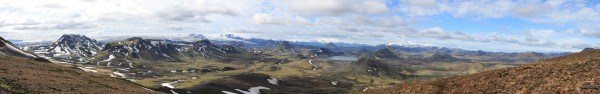 Panoramique depuis les hauteurs d'Álftavatn